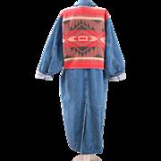 Vintage 80s Blue Denim Duster Coat with Indian Blanket Back