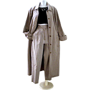 Vintage 80s Tan Denim Long Duster Coat with Matching Pants