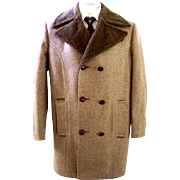 70s Mens Brown Flecked Wool Winter Coat by Botany 500