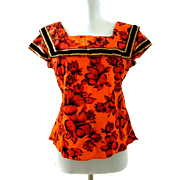 Vintage 50s 60s Orange & Red Hawaiian Rockabilly Blouse
