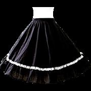Vintage Black Square Dance Circle Skirt