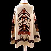 1970's Cowichan Beige Sweater Cape Vintage Navajo