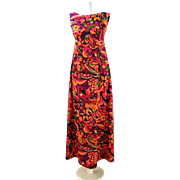 Vintage 1970's Hawaiian Maxi Dress Flower Power Mod Dress Small
