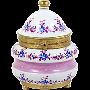 Hand Painted Trinket Box Brass Ormolu Greek Key Trim Blue Flowers w/ Fuchsia