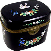 Black Glass Casket Victorian Sugar or Trinket Box Enameled Flowers & Bird w/ Brass Trim and ..