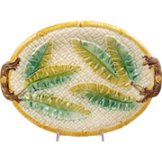 Oval Majolica Tray Banana Leaves on Basket Weave in Brown Green & Yellow 13 3/4""