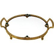 Jeweled Dresser Tray Mirrored Footed Stamped Brass Vanity Perfume Tray Austria Circa 1920's