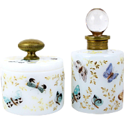 Perfume Bottle & Powder Jar Hand Painted Glass Vanity Set Brass Accents Butterflies and Moths