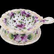 Hand Painted Porcelain Tea Strainer with Drip Bowl Violets Decorative Gold Trim