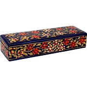 "Hand Painted Lacquer Box Orange & White Flowers on Blue Gold Leaves 8"" x 2 1 ..."