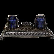 Antique Desk Set w/ Inkwells Spun Silver Cobalt Wells Attached Nib Box Objet d'Art