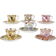 Set of 6 Colclough Bone China Demitasse Tea Cups Flowers & Gold Mixed Colors