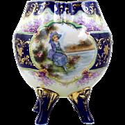 Nippon Footed Portrait Vase Hand Painted Flowers Rose Bowl Vase Lobed Shape