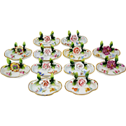 Set of 12 Porcelain Floral Place Card Holders Name Placeholder w/ Mint Dish
