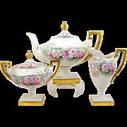 Lenox Belleek Teapot Tea Set Hand Painted Pink Roses Pedestal Bases Artist Signed 1906-1926