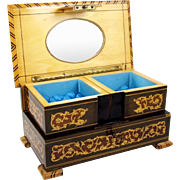 Wood Marquetry Musical Jewelry Box & Key Plays Torna a Surriento Tufted Interior