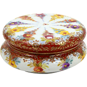 Floral Powder Jar Trinket Box Hand Painted Flowers on Porcelain Raised Enamel Accents