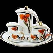 Miniature Tea Set or Coffee Chocolate Pot Set Sugar Creamer 2 Tea Cups Tray