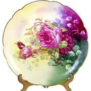 Hand Painted Limoges Plate Pink Roses Artist Coronet Borgfeldt Signed Rancon