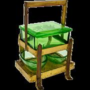 Green Glass Master Salt Set & Stand 2 Pheasant Cameo Cellars Huntress Diana