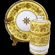 Le Tallec Limoges Ashtray & Lighter Smoke Set Gilt Brass Mounts & Trim Gold Bead 1947