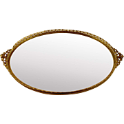 Oval Mirrored Tray for Vanity or Dresser Gold Tone Filigree Open work Leaf Trim 16 ...