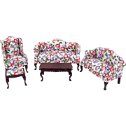 Dollhouse Miniature Living Room Upholstered Floral Camel Back Sofa Loveseat Chair Table