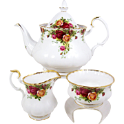 Royal Albert Teapot Set Old Country Roses Creamer & Sugar First Mark Before 1962