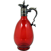 Red Glass Ewer with Ornate Silver Plate Handle & Spout Footed Decanter with Spout