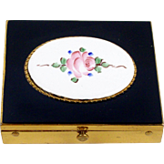 Hand Painted Rose Powder Compact with Mirror 1950's Rex Fifth Avenue