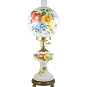 """Hand Painted 25"""" GWTW Satin Glass Electric Lamp w/ Night Light Gone w/ The Wind"""