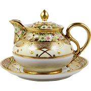 Noritake Nippon Individual Personal Teapot & Plate Hand Painted Flowers Heavy Gold Trim