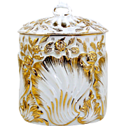 Small Oval Porcelain Biscuit Cracker Jar Gold Shells & Roses Flowers on White