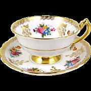 Paragon Bone China Tea Cup Floral Bouquets Decorative Gold Border Gold Foot