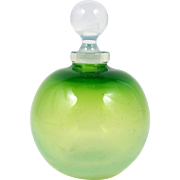 Opalescent Art Glass Perfume Bottle Green Scent Bottle with Ball Form Stopper