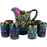 Antique Imperial Carnival Water Set Diamond Lace Amethyst Pitcher with 6 Glasses