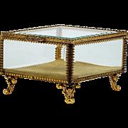 Diamond Shape Ormolu Jewelry Casket French Style Trinket Box Clear Beveled Glass