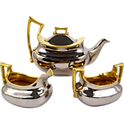 Hand Painted Silver & Gold Limoges Teapot Assembled Tea Set German Cream & Sugar