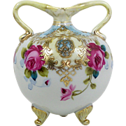 Nippon Double Handle Vase Hand Painted Pink Roses Raised Gold Accents Footed
