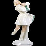 "Porcelain Figurine Schaubach Kunst 1926-1952 Hand Painted Lady Dancer 8 1/2"""