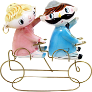 Bicycle Built for 2 Figural Salt and Pepper Shaker Set Waving Couple Bicycle Holder