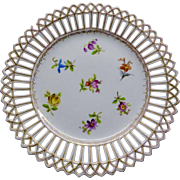 Hand-painted Dresden Reticulated & Floral Dessert Plates, set of 9 plus 1 damaged.