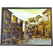 20th Century European Impressionist Cityscape by Jorge Aguilar Agon Signed