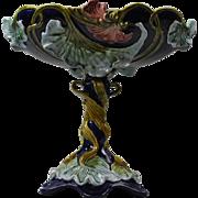 Wilhelm Schiller & Son Continental Majolica Figural Compote Center Dish 11 5 62