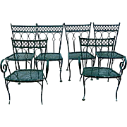1900s Wrought Iron Victorian Garden Chairs, S/6,