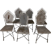 French Art Deco Garden Chairs, S/6