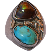 Mens Hand Wrought Sterling Silver Fire Agate & Turquoise Ring