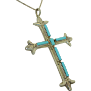 Signed Zuni Native American Sterling Silver & Fine Turquoise Cross G&L Leekity