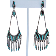Signed Zuni Sterling Silver Petit Point Turquoise Long Dangle Earrings