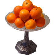 French Art Deco Silver Plate Fruit Bowl - Centerpiece Bowl with Glass Insert - Fantastic Deco
